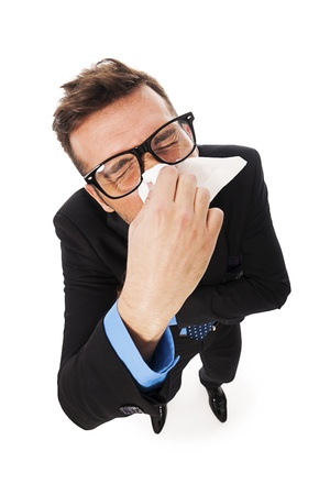 flu: Man struggling with a cold