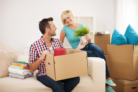 Couple arranging a new flat Stock Photo - 22025493