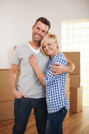 Happy couple in their new house Stock Photo - 22025497
