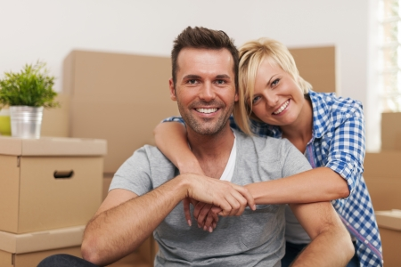 relocating: Beautiful couple enjoying to spend time together Stock Photo