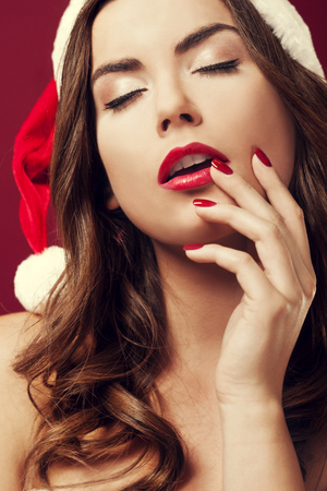 Close-up of hot santa woman photo
