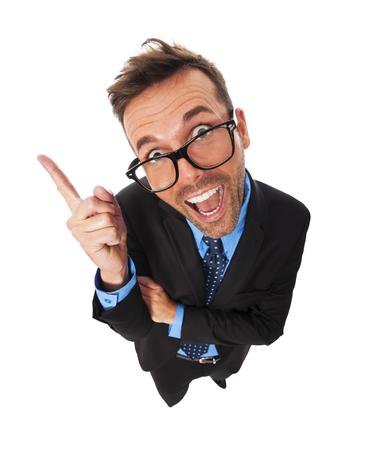 business attire teacher: Funny business man has very good idea Stock Photo