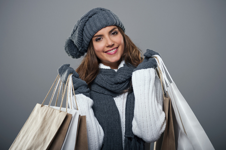 Shopping time during the winter  Stock Photo