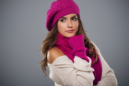Portrait of fashionable woman in winter season  photo