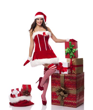 Sexy santa woman with christmas presents   Stock Photo