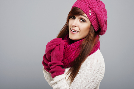 Portrait of beautiful woman in winter clothes  photo