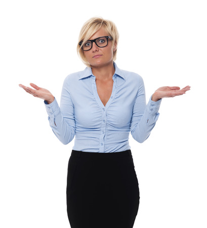 Blonde and beautiful businesswoman shrugging  photo