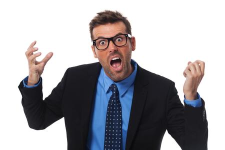 persona enojada: Hombre de negocios enojado gritando muy fuerte Foto de archivo