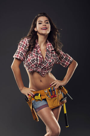 Portrait of gorgeous female construction worker   photo
