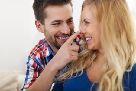 Portrait of flirting beautiful couple  photo