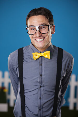 glass fence: Portrait of funny nerdy man
