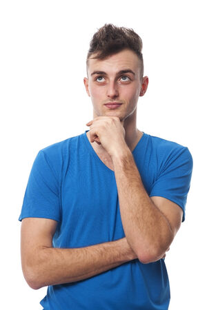 handsome young man: Handsome young man planning something Stock Photo