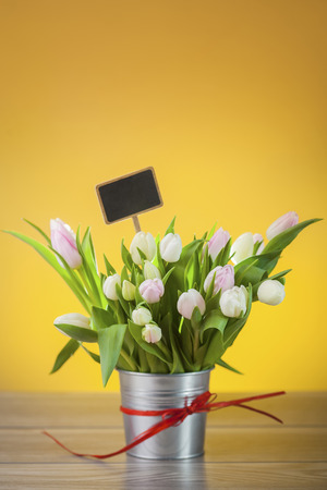 rustical: Bouquet of tulips in rustical pot