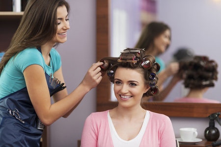 curlers: Visit at hairdresser before important day