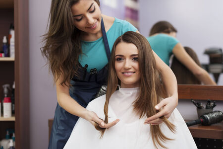 hair stylist: Portrait of hairstylist and female customer