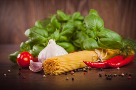 Close up of products on spaghetti  photo