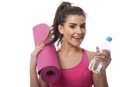physical activity: Smiling woman loving physical activity Stock Photo