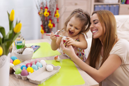 Happy family in easter time   Stock Photo