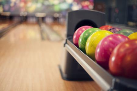 ボウリングのボールのクローズ アップ 写真素材