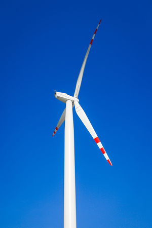 without clouds: Wind turbine on blue sky without clouds  Stock Photo