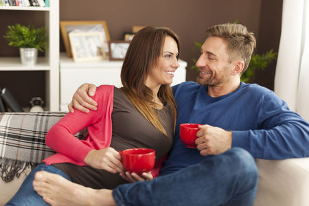 Loving couple spending time together at home  photo
