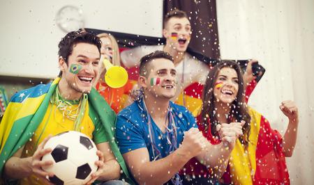 Los aficionados al fútbol multinacionales celebran meta Foto de archivo