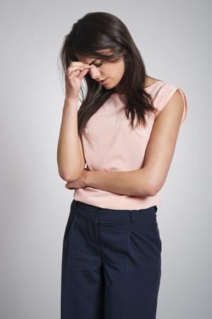 sinusitis: Young woman with serious sinusitis
