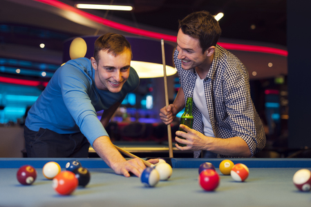 pool table: Male evening in billiard club