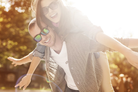 sun lit: Happy time for young couple