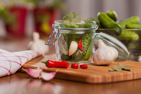 Ingredient for pickle cucumbers in the kitchen  Stock Photo