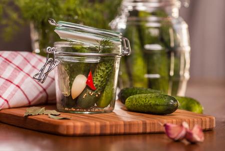 Pickling cucumbers in the jar   photo