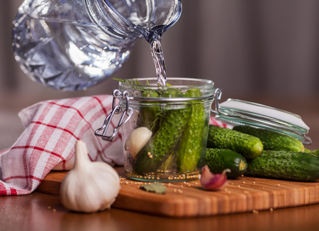 fermenting: Preparing pickle cucumbers in the kitchen  Stock Photo
