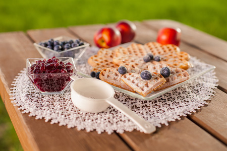 Sweet waffle with fruit in summer day on wooden table   photo