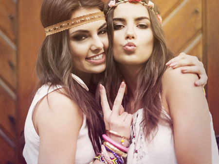 Portrait of two beautiful summer girls  photo