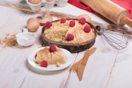 Sweet raspberries pie with cinnamon photo