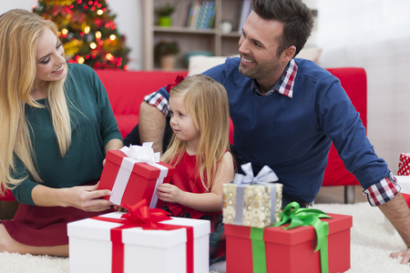 Young family enjoying the Christmas time  photo
