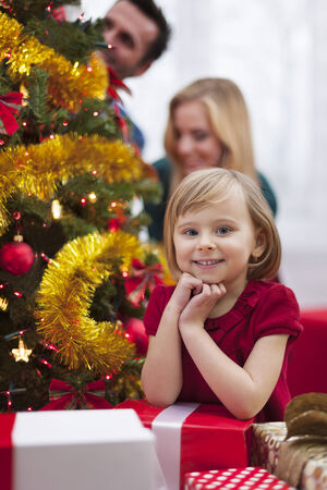 Portrait of cute little girl during the Christmas photo