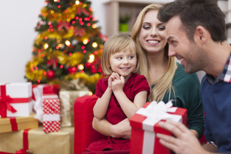 Little girl with parents during Christmas photo