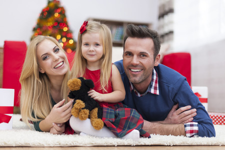 family time: Portrait of loving family in Christmas time