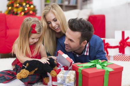 Christmas fun of young family photo