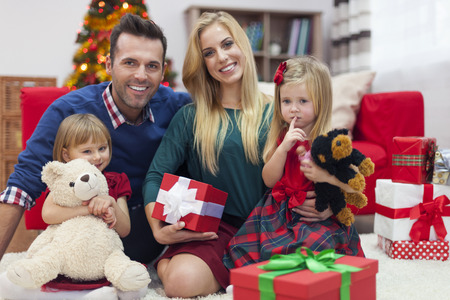 Happy family during Christmas