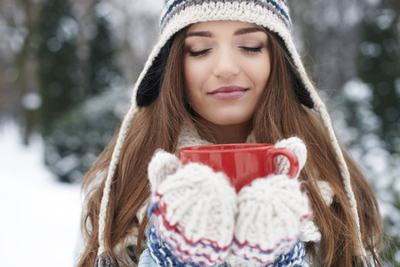 chocolate caliente: Olor de chocolate caliente en invierno es grande