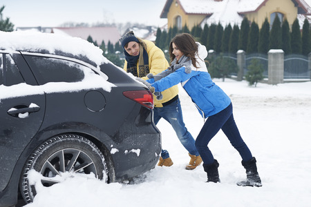 Stuck car in snowdrift is big problem for us