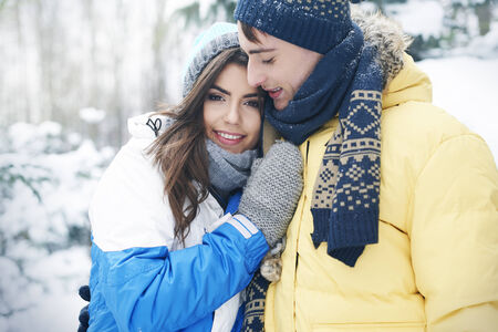 winter couple: Romantic time in winter day