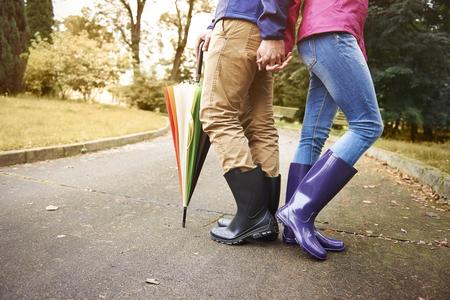 Klaar voor regenachtige herfstdag Stockfoto