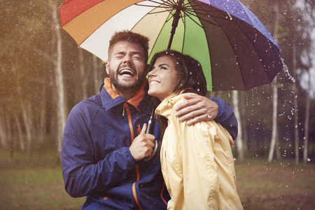 couple in rain: Autumn rain
