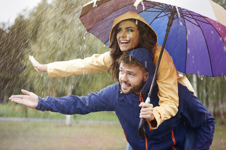 umbrella rain: Couple in the rain
