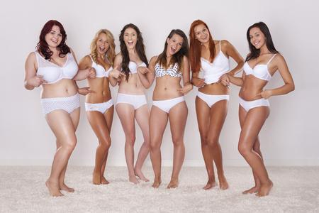 Group of happy women in underwear  photo