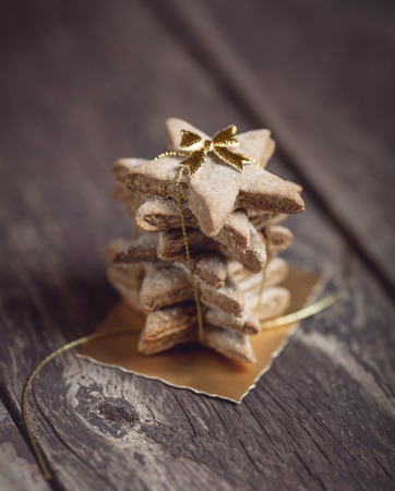 baking christmas cookies: Stack of lovely Christmas cookies Stock Photo