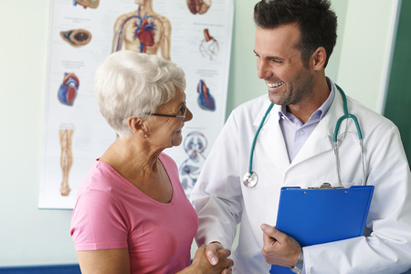doctor appointment: Thank you for visit and good news Stock Photo